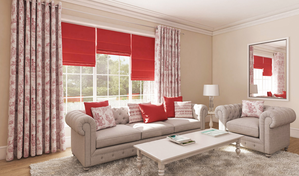 Red Blinds and curtains