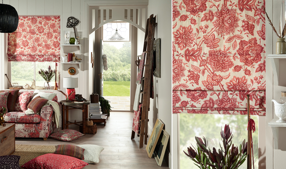 The chilli roman blinds with patterns
