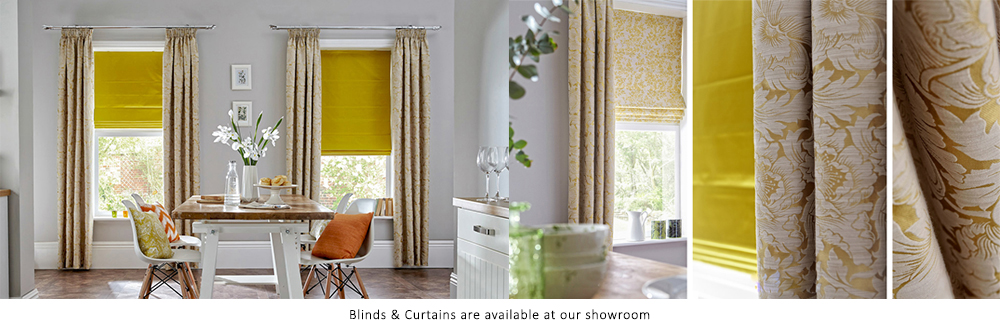 Gold curtains and blinds