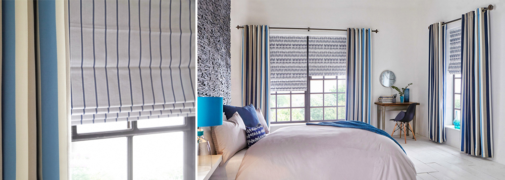 Curtains and Roman Blinds with stripes