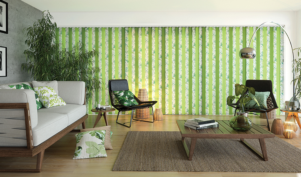 green tropical vertical blinds